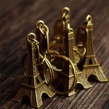 5cm Bronze Tone Paris Eiffel Tower Figurine Key Chain 50PCS/LOT Statue Vintage Alloy Model Decor Creative Gift