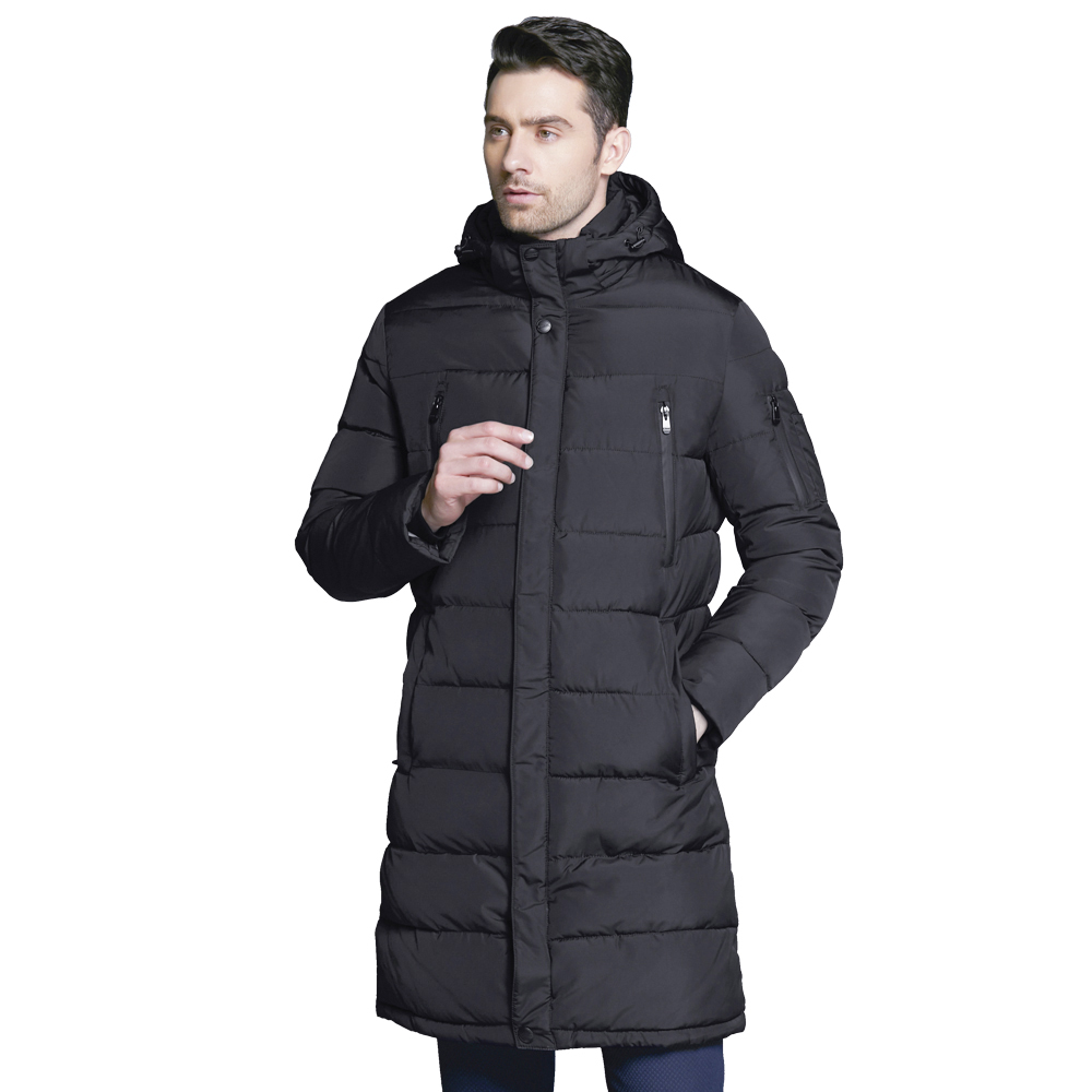 ICEbear 2018 New Men's Clothing Winter Jacket Long Coats with Hood for Leisure High-quality Parka Men Clothes Jacket 16M298D pu leather spliced rib hem epaulet design stand collar long sleeves slimming jacket for men