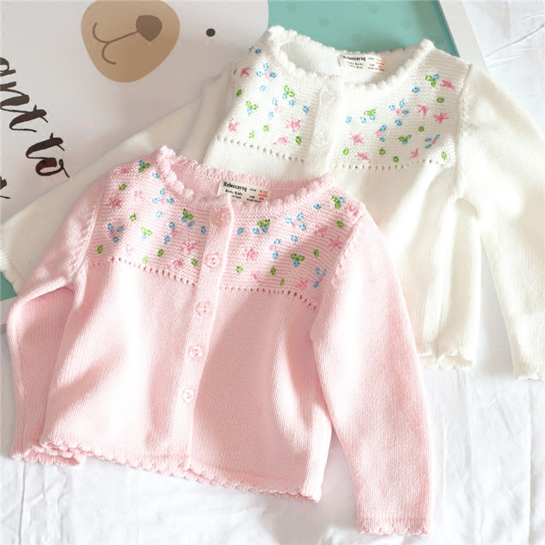 Girls sweater 2018 baby girls cardigan floral full Sleeve baby girl clothes Winter O-neck sweater for girls clothing turtle neck sweater baby blumarine turtle neck sweater