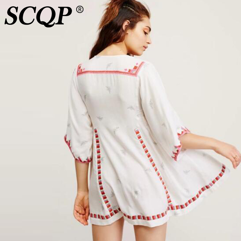 bb4e4d772683 SCQP Geometric Embroidery V neck Beach Dress Ladies White Floral Mini Womens  Dresses A Line Ethnic Casual Summer Dress 2017-in Dresses from Women's  Clothing ...