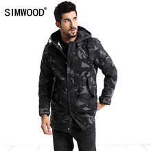 SIMWOOD 2018 Winter Coats Men Fashion Camouflage Jacket Men Pocket Slim Fit Hooded Parka High Quality Plus Size Trench MC017007(China)