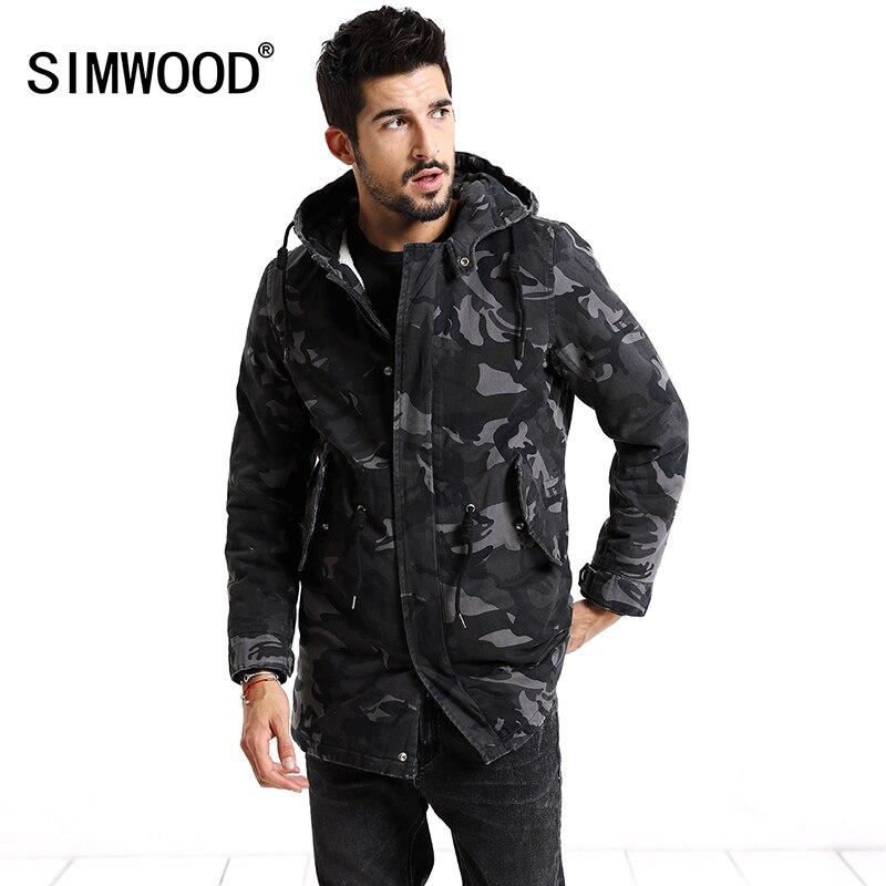 SIMWOOD 2019 Winter Coats Men Fashion Camouflage Jacket Men Pocket Slim Fit Hooded Parka High Quality Plus Size Trench MC017007