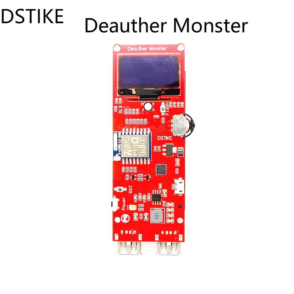 DSTIKE WiFi Deauther Monster ESP8266 1.3OLED 8dB Antenna 18650 power bank 2A quick charging 2USB 2.8A output no PB WiFi Attack esp 07 esp8266 uart serial to wifi wireless module