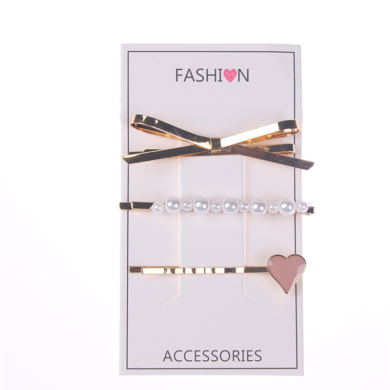3Pcs/set Metal Hairclip Bow Pearl Drop Female Heart Wild Hairpin For Children Hair Clip Hair Accessorie Hair Styling Tools