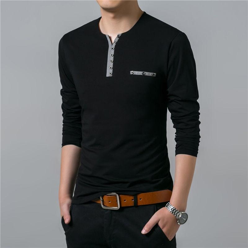 HTB1X2X4bNtnkeRjSZSgq6xAuXXal - COODRONY Cotton T Shirt Men 2018 Spring Autumn New Long Sleeve T-Shirt Men Henry Collar Tee Shirt Men Fashion Casual Tops 7617