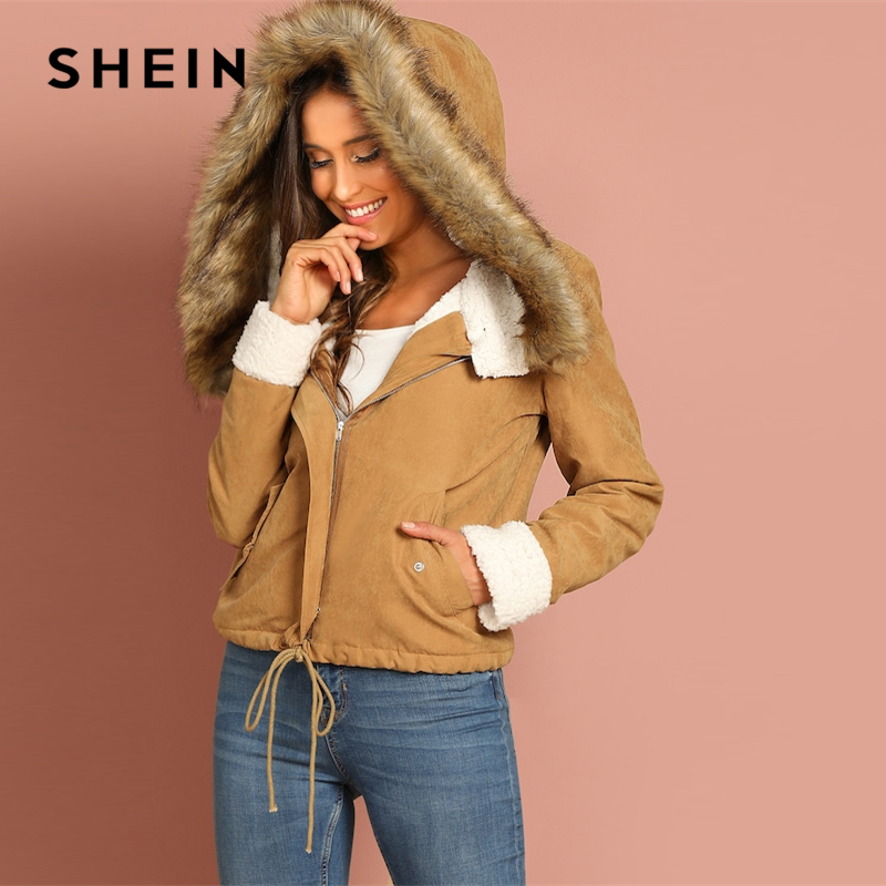 SHEIN Khaki Casual Drawstring Hem Pocket Faux Fur Zipper Up Hooded Jacket Autumn Thermal Leisure Women