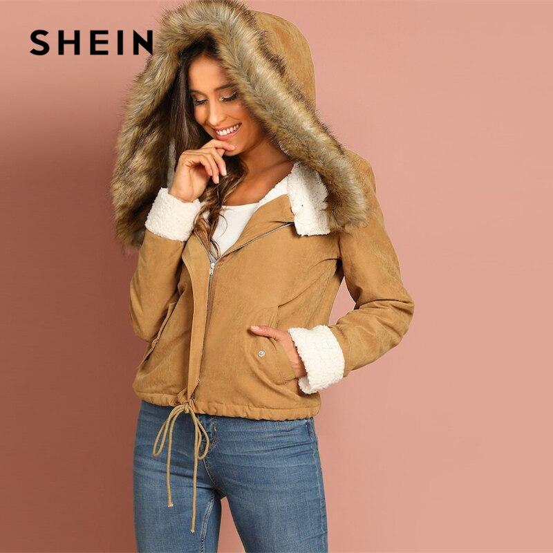 Шеин хаки повседневное Drawstring подол карман искусственный мех на молнии куртка с капюшоном осень термальность для отдыха для женщин пальт