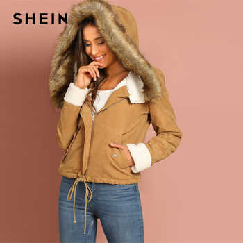 SHEIN Khaki Casual Drawstring Hem Pocket Faux Fur Zipper Up Hooded Jacket Autumn Thermal Leisure Women Coat And Outerwear - DISCOUNT ITEM  40% OFF All Category