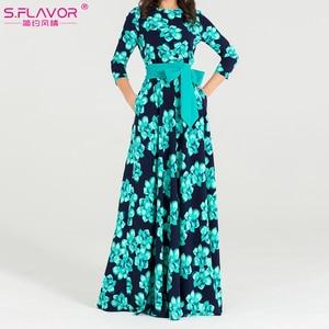 Image 3 - S.FLAVOR Women Bohemian long dress Hot sale Autumn winter fashion printing vestidos for female good quality women elegant dress