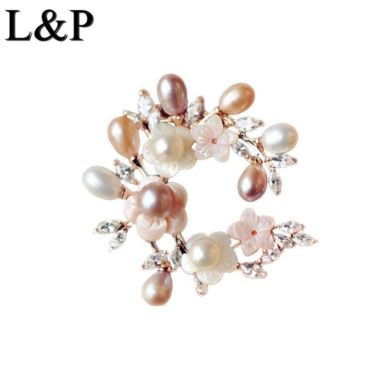 цена на Lotus Fun Broch Sterling Noj Elegant Natural Fleshwater Pearl Women Vintage 100% 925 Pin Brooch Antique Fine Jewelry Accessory