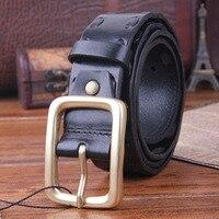 Solid Brass Buckle Genuine Leather Vintage Men Belt High Quality Handmade Braided Belts For Men Strap