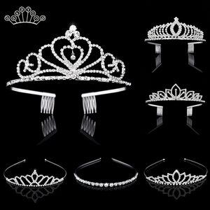 Bridal Crystal Tiaras and Crowns Headband Kid Flower Girls Bridesmaid Wedding Hair Accessiories Hair Jewelry(China)