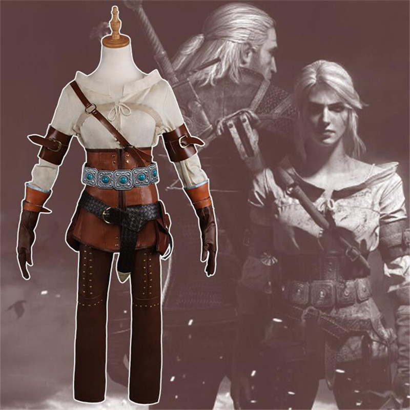 Nouveau The Witcher 3: chasse sauvage Cirilla Fiona Elen Riannon Costume Cosplay Costume Ciri carnaval Halloween ensemble complet uniforme