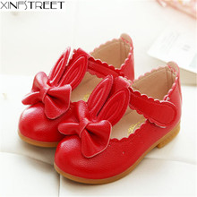 Xinfstreet Brand Baby Girls Shoes Cute Solid Rabbit Kids PU Leather Soft Children Flats Size 21-30