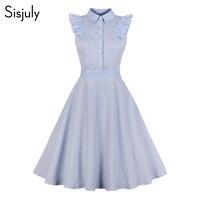 Sisjuly винтажное платье 2019 летнее женское платье простое платье с рукавом-крылышком однобортное Полосатое платье на пуговицах