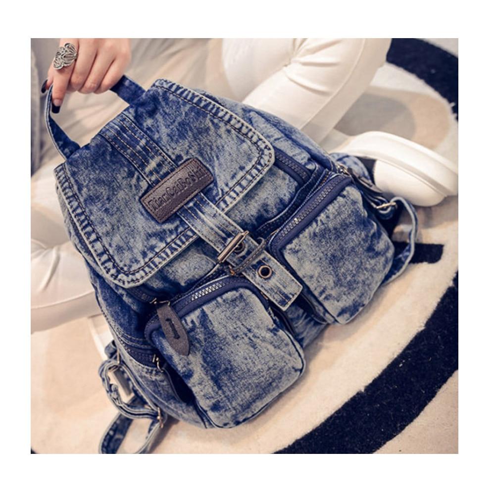 Fashion Women Backpacks Female Denim School Bag For Teenagers Girls  Large Space Backpack Sac A Dos