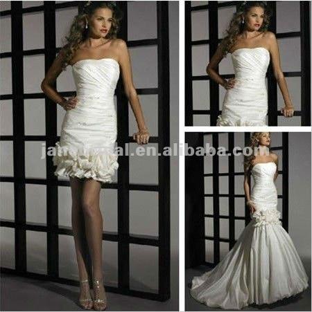 Taffeta Flower Detachable Skirt Mermaid Wedding Dress