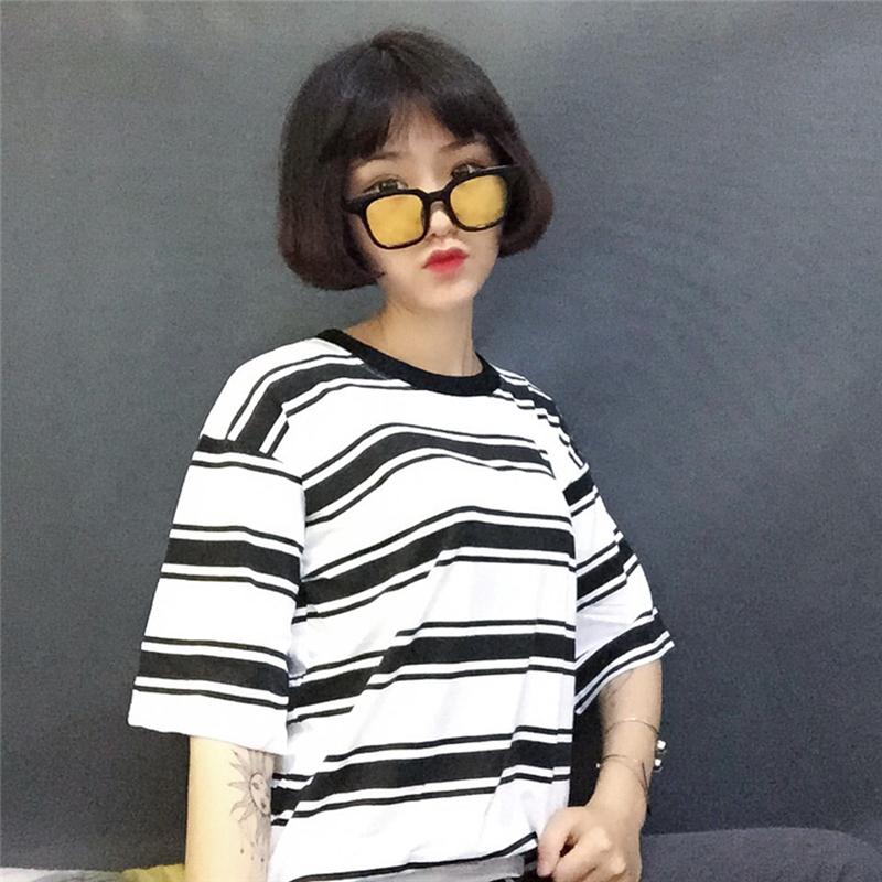 2019 college harajuku lose striped t shirt frauen kurzarm hit farbe - Damenbekleidung - Foto 4