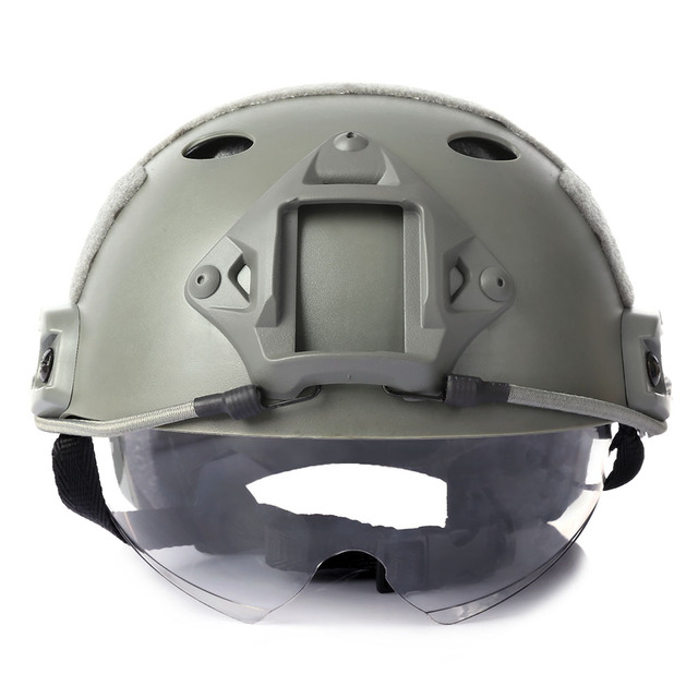 Military Crashworthy Protective Army Tactical Helmet for CS Airsoft Paintball Game Helmet with Windproof Goggle Head Protector