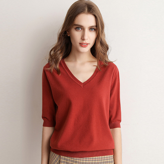 Spring Summer Women Sweaters Pullovers Solid V-neck Short-sleeved Knit Cashmere Sweater Thin Casual Tops Jumper Female RE2531 1