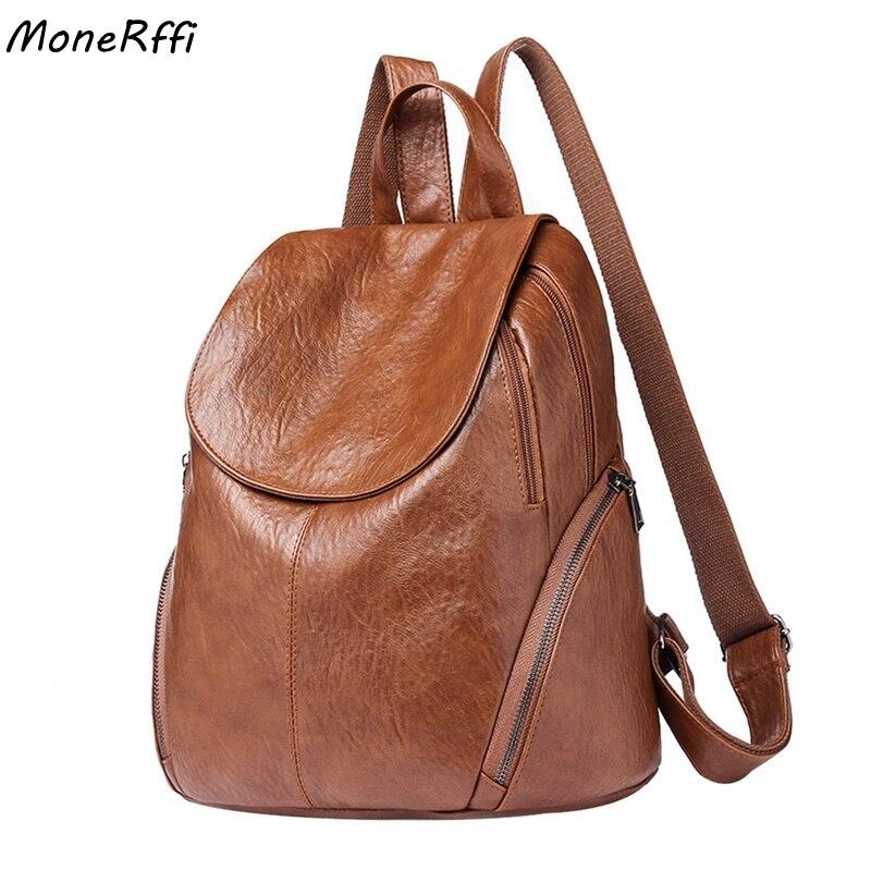 MoneRffi 2019 Fashion Women Backpacks PU Leather Backpack Shoulder Bags Daypack For Women Female Rucksack Feminine Mochila