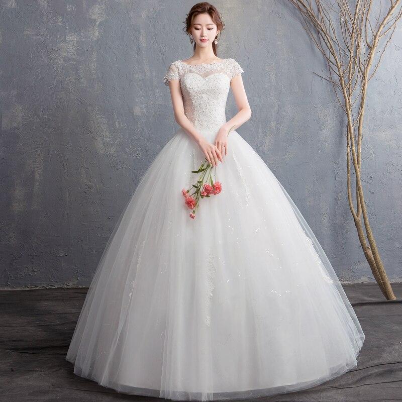 New Round Neck Vestido De Noiva Ivory Sequined Yarn Pearls Lace Wedding Dress Short Sleeves Wedding Gown Bride Dress