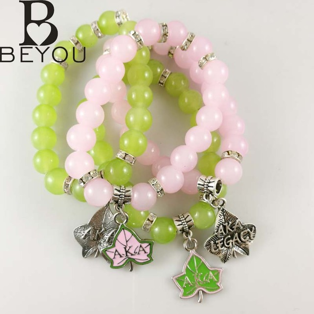 Greek Aka Sorority Pink And Green Gl Bead Elasticity Alpha Kap Leaf Legacy Bracelet