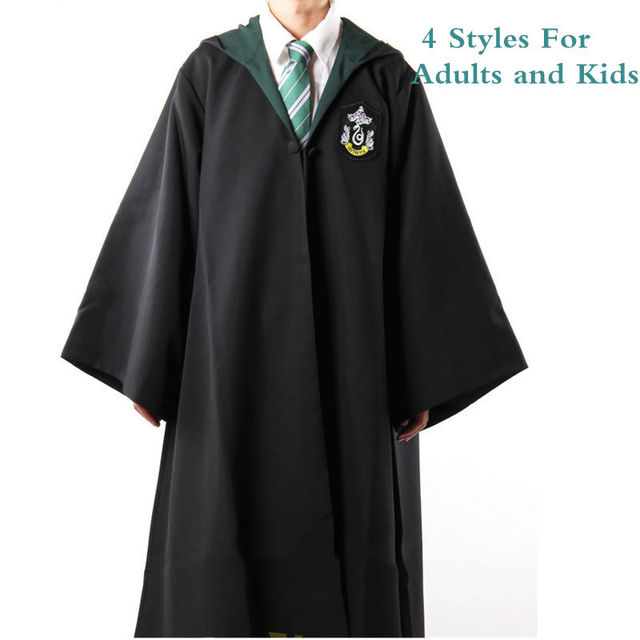 Harri Potter Cosplay Costume  Gryffindor 's Slytherin Ravenclaw 's hufflepuff 's Robes Ties Harry 's Cloaks For Adults and Kids