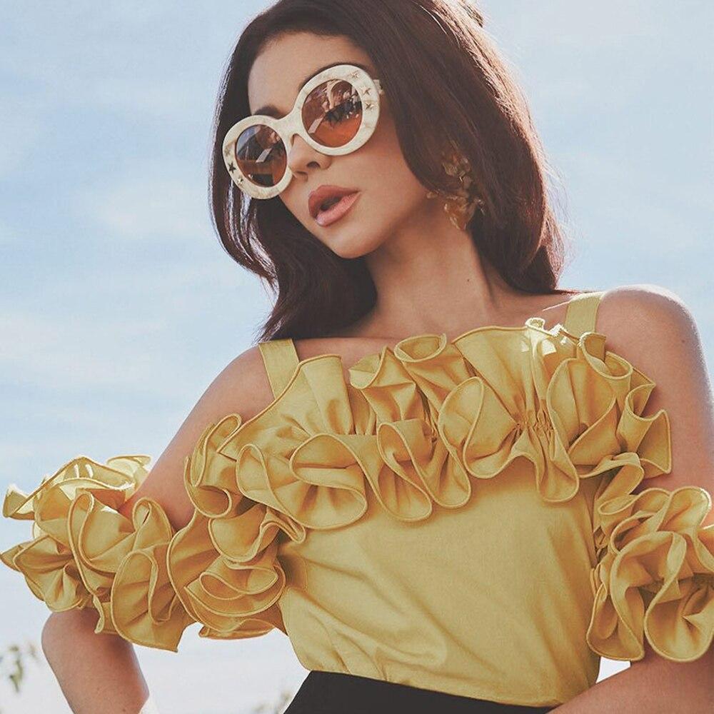 Women ruffle   blouse     shirt   high street fashion summer tops yellow slash neck short sleeve casual fashion sexy off shoulder   blouse