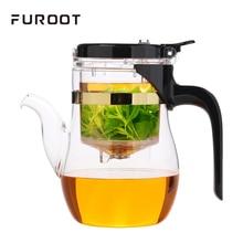 Elegant Glass Teapot With Tea Strainer Milk Oolong Tea KungFu Teaset Press AUTO-OPEN Art Can Unpick And Wash Blooming Flower Tea