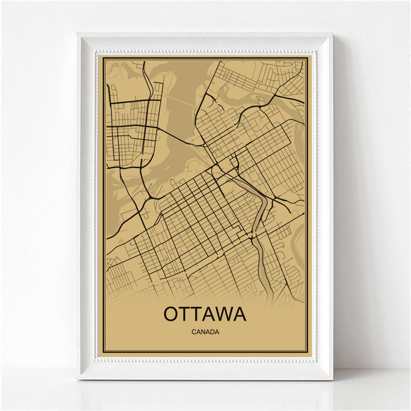 Canada Capital OTTAWA World Map Vintage Poster Krafts Paper Retro Painting Art Wall Picture Living Room