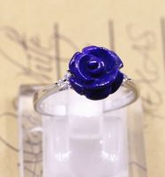 Afghanistan pure natural old mine lapis lazuli rose rings, hand carved sterling silver mosaic ring