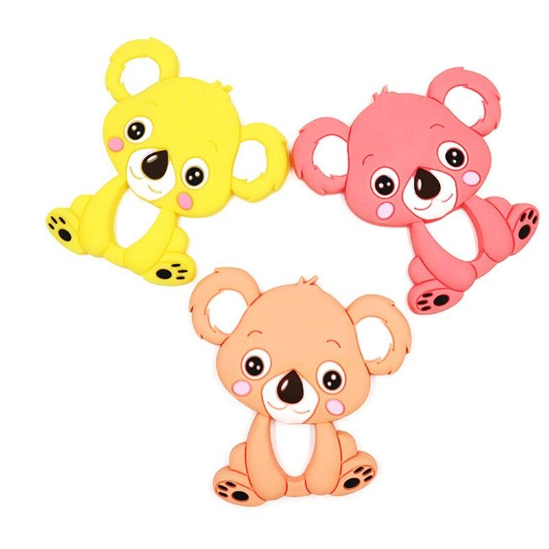 1 Pc Baby Koala Silikon Beißring Zahnen Kauen Spielzeug Infant Beißring Perlen Diy Halskette Pflege Werkzeug Anhänger Food Grade Silikon