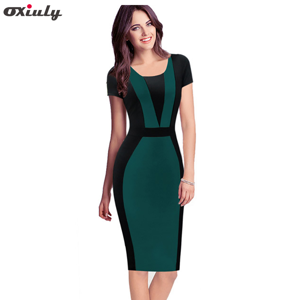 52781365cd629 Oxiuly Womens Elegant Optical Illusion Colorblock Contrast Modest Slim Wear  to Work Business Casual Party Sheath Pencil Dress