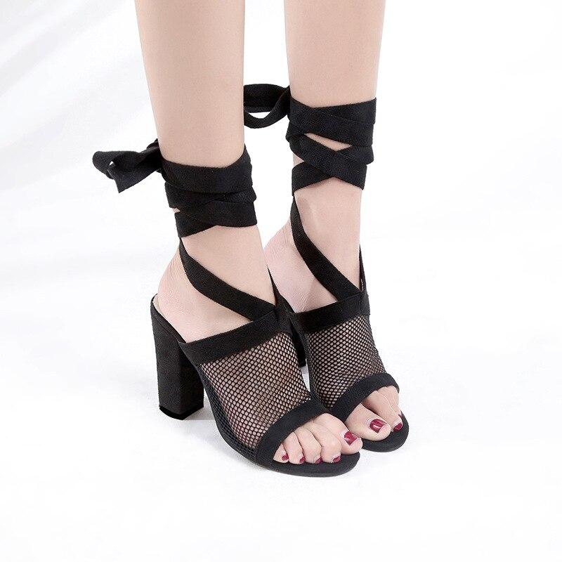 Talon Peep Femmes Chaussures Pompes Été 2018 Maille Noir Femelle Printemps Justsl Puttee Fahsion Haute 10 Toe De Cm YC7Rtqxw