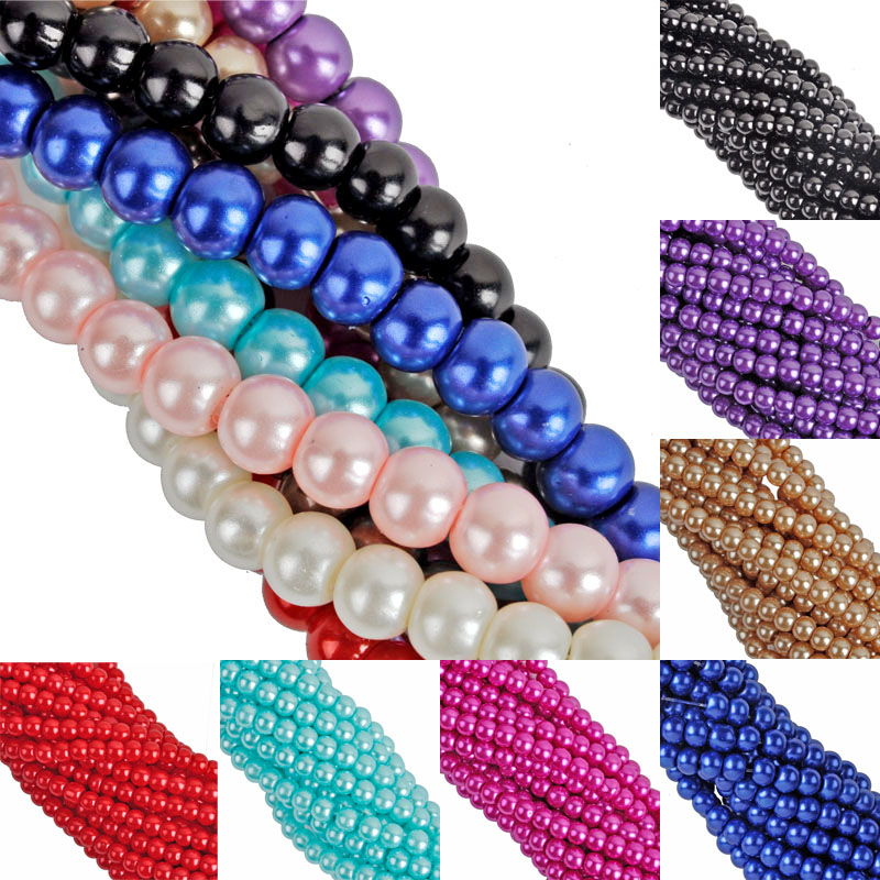 30 One Strand Approx 200pcs Per Lot 4mm Round Ball Loose Glass Pearl Spacer Beads For Jewelry Making Free Shipping No.gpb4 Jewelry & Accessories Beads & Jewelry Making