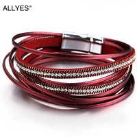 ALLYES Multicouche Bracelets En Cuir pour Femmes Femme 6 Couleurs Aimant Fermoir Cristal Bohème Double Wrap Bracelet Bijoux