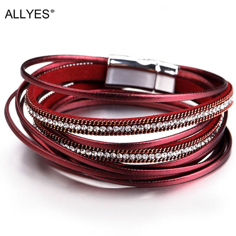 ALLYES Multilayer Leather Bracelets for Women Femme 6 Colors Magnet Clasp Crystal Bohemian Style Bracelet Female Jewelry