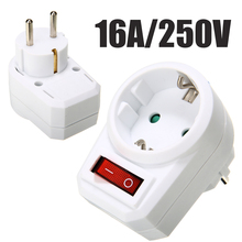EU Conversion Socket 16A/250V Switchable Socket With Switch Socket Plug Power Portable Travel Converter Adapter 3 pin power adapter socket with rock switch for diy project black red 5 piece pack
