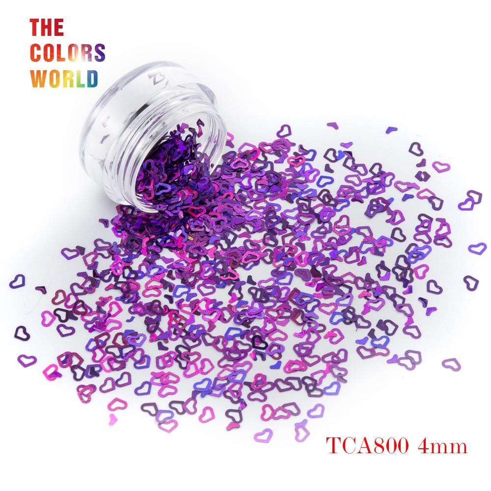Tct-050 полые сердца Форма Лазерная красочные Глиттеры для ногтей 4 мм Размеры для ногтей Гели для ногтей украшения Макияж facepaint DIY украшения