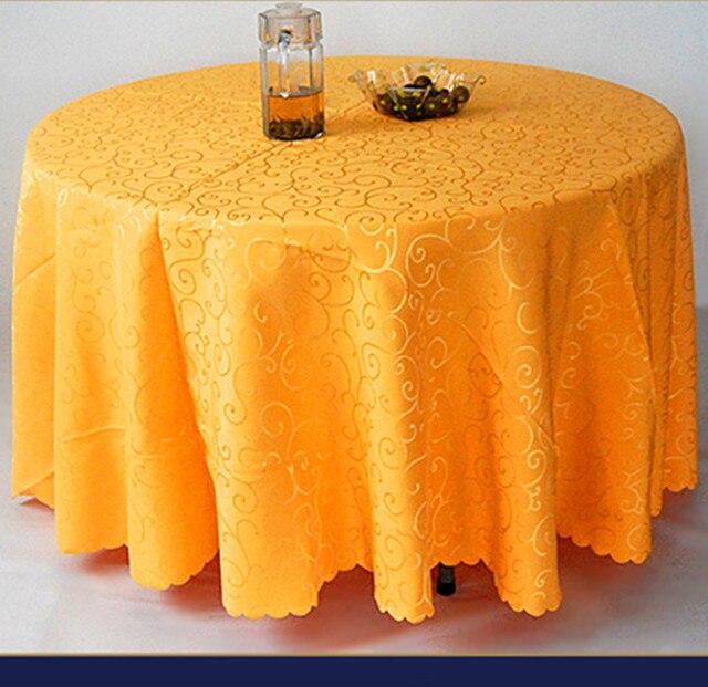€ 11.93 24% de réduction|Couleur unie haut de gamme 100% Polyester Table  ronde couverture Table à manger nappe nappe conférence crochet fleur hôtel  ...