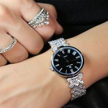 Ultra delgada señora de las mujeres de japón del reloj de cuarzo de moda de lujo vestido de pulsera de cristal de lujo fiesta de cumpleaños de la muchacha caja de regalo royal crown