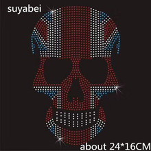 2pc/lot Colorful skull hot fix rhinestone transfer motifs iron on applique patches crystal transfers design for coat