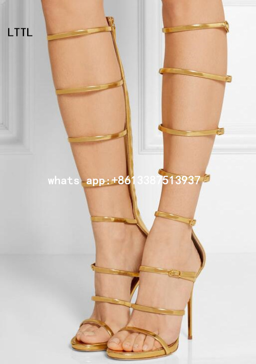 ФОТО 2017 New Summer Women Fashion Gold Sliver Pink Patent Leather Zip Back Straps Open Toe Knee High Long Boots Sexy Hot Knee Boots