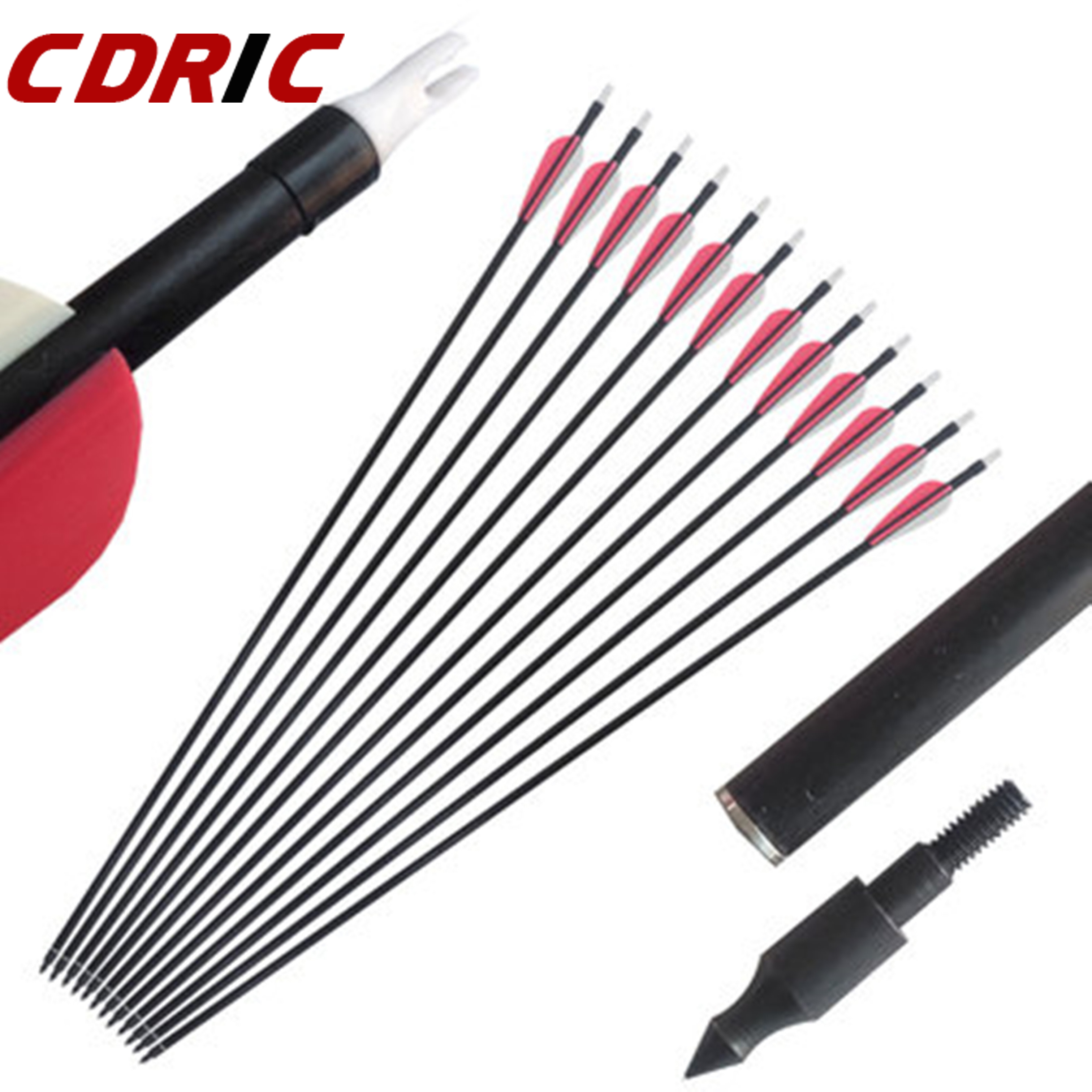 Free Shipping 6/12/24Pcs Fiberglass Arrow Spine 500 OD 8mm For Archery Bow Hunting
