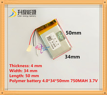 3 wire 403450 043450 3.7V 750mah Lithium polymer Battery with Protection Board For MP3 MP4 GPS Digital Products