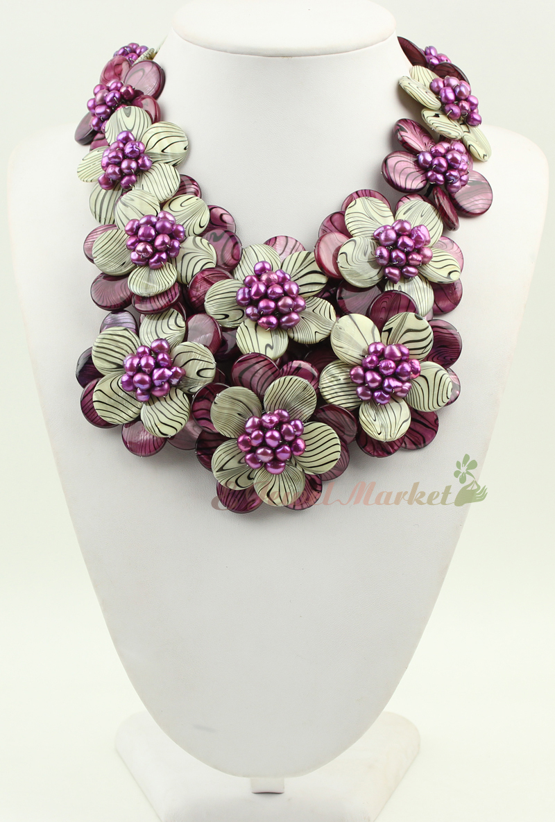 N14091101 purple and white Zebra shell purple FW pearl flower necklace