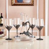 Творческий эмаль бокал для вина Кубок Кристалл Стекло бар набор 4x12 унц./350 Винные бокалы 1x52 унц./1500 мл графин