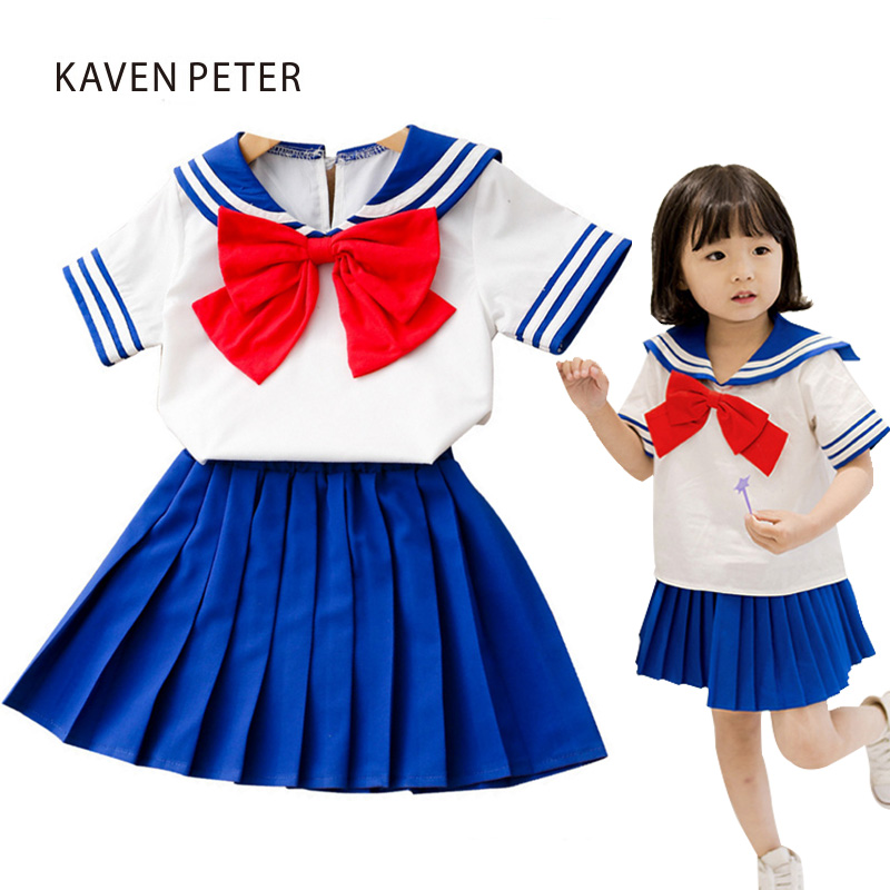 2018 summer dress for girl Sailor Moon Dress kid school uniforms girl Blouse Sailor collar with Bow tie Pleated skirt blue color недорго, оригинальная цена