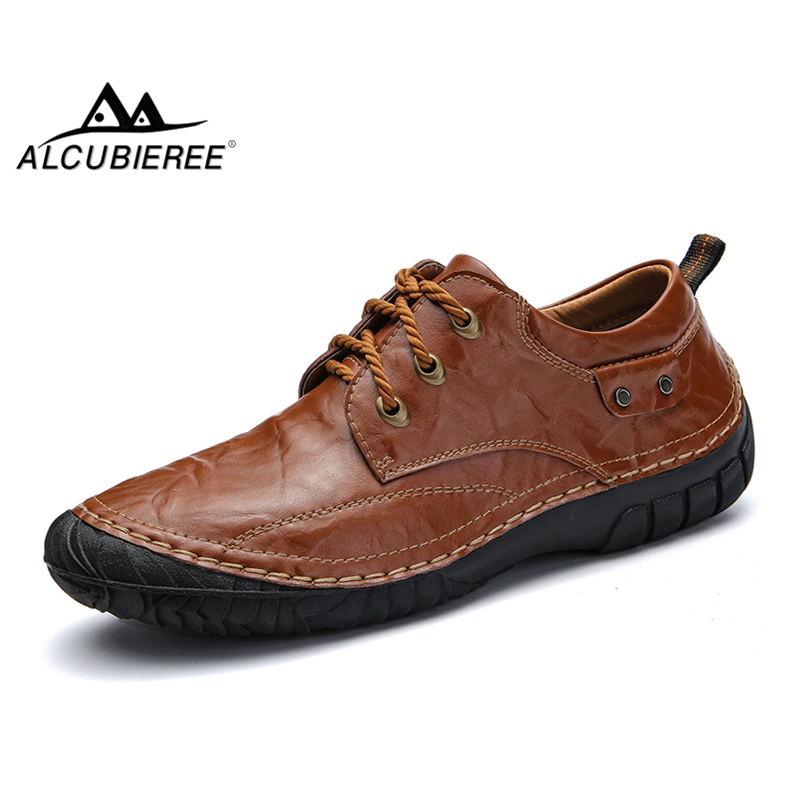 ALCUBIEREE Hot Fashion 100% Handmade Men Casual Shoes Men's Lace-up Breathable Driving Shoes Vintage Comfortable Men Flat Shoes men s leather shoes vintage style casual shoes comfortable lace up flat shoes men footwears size 39 44 pa005m